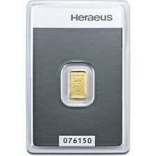 1 Gram Heraeus Swiss Solid Fine 999.9 Gold Bullion Bar Certified Sealed