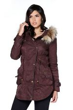 LIPSY LONDON WOMENS FUR LINED PARKA JACKET - UK SIZE 10 - BURGUNDY RED - BNWT.