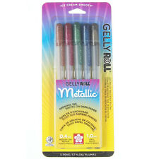 Sakura GELLY ROLL 5 DARK METALLIC Pens 1.0 mm ball Med 37375 reflective gel ink