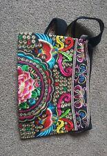 Medio hombro bordado floral colorido Tribal Bolso Hmong Tailandés Estilo Bolso De Mano