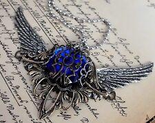 xxl Amulett fairy steampunk gothic elfe walküre valkyrie vintage stahl kette emo