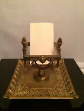Antique Empire Style Bronze Lion Head Large Card Holder Stand -Tray w Initial