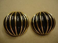 Runway Golden Black Enamel Hot Air Balloon Style Large Heavy Domed Clip Earrings