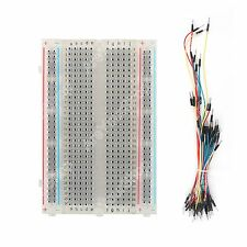 Breadboard Clear Crystal 400 Tie Point + 65Pcs Jumper cable wires Arduino BS1
