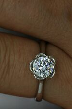 1CT Perfect Round Simulated Diamond Engagement Solitaire ring 14kt White Gold