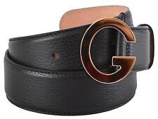 New Gucci Women's 362732 Black Leather Gold Tone G Buckle Belt 32 80