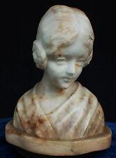 Carved Marble Alabaster Shoulder Bust of a Maiden