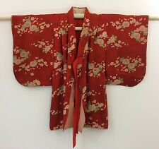 Authentic Japanese red silk kimono for little girls, poor condition (H1196)