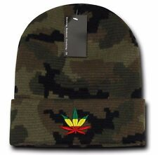 Camo Rasta Weed Leaf Pot Cannabis Marijuana Pot Cuffed Beanie Beanies Hat Hats