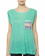 BILLABONG SEAN JADE green aztec LINEN t tee shirt vest TOP medium UK 12 bnwt