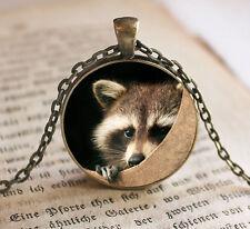 Vintage fox Cabochon Bronze Glass Chain Pendant Necklace kv15
