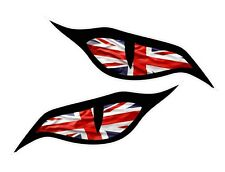Pair Evil Eyes Eye Union Jack UK Flag car motorbike helmet sticker 70x30mm ea.