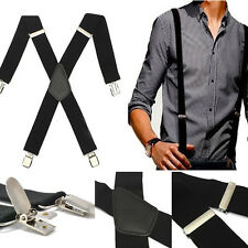 Mens Cloth Match Elastic Leather Braces Adjustable Clip-on X-Back Suspenders
