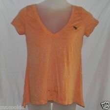 NEW Abercrombie & Fitch T-Shirt Orange Large S/S L Pull Over Cotton Woman
