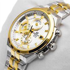 CASIO EDIFICE EF-556SG 7av PREMIUM GOLD CHRONOGRAPH MENS WATCH GIFT 2YR WARRANTY