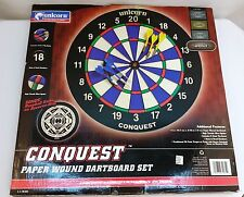 NEW Unicorn Conquest Paper Wound Dartboard Set Bronze w/ Steel Tip Darts