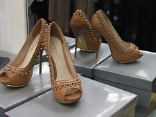 Moda In Pelle BNIB UK 5 Gorgeous High Heel Tan Shoes wth Gold Spikes+Studs EU 37