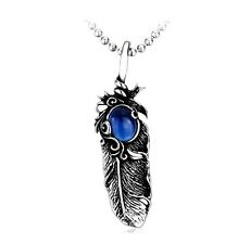 Blue Feather CZ Pendant Gothic Mens Womens Necklace Stainless Steel Free P&P