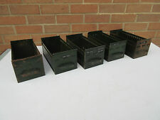 vintage industrial olive green metal filing drawers boxes x5