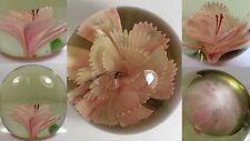 Antique Vtg Art Glass Paperweight Delicate Ornate Pink & White Flower Not Signed