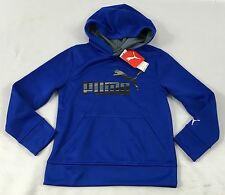 Puma Boy's Sweater Hoodie Royal Blue Black Grey Logo KIDS STAIN Size 6