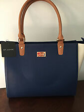 NWT ST JOHN KNIT NAVY CREAM TAN COLOR BLOCK LEATHER TOTE SHOULDER HAND BAG