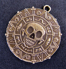 Bronze Skull DAY OFTHE DEAD Skeleton Gold Pendant Pirates Caribbean Crop Circles