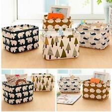 Linen Desk Storage Box Holder Jewelry Stationery Cosmetic Organizer Case Makeup