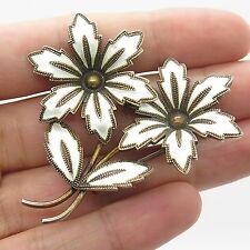 Ivar T Holth Norway Vtg 925 Sterling Silver  Enamel Large Floral Pin Brooch