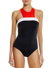 NWT Carmen Marc Valvo High Neck Red White Black Zip One Piece Swimsuit 12 mr22