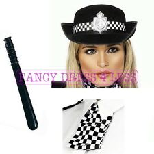 POLICE WOMANS FANCY DRESS BATON HAT SCARF LADIES POLICEWOMAN COP WPC