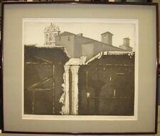 Mario Micossi 1960s Aquatint of Church in Rome Listed Italian Artist