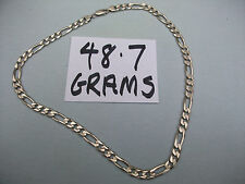 SOLID SILVER MENS OR LADY'S FINE FIGARO LINKED NECK CHAIN.48.7 GRAMS