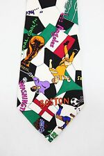 Retro 90s 1994 World Cup 100 Silk Tie Nicole Miller Fifa Soccer STRIKER necktie