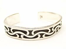 Vtg Sterling Silver Cuff Bracelet Ornate Woven Modernist Estate Taxco Mexico