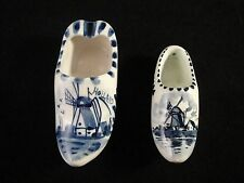 Delft Blue Holland Dutch Windmill Handpainted Ceramic Clog Shoe Ashtray Lot of 2
