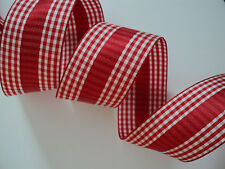 Red Gingham Check Wired Ribbon, ღ  Bows, Valentines, Decorative, Crafts