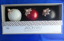 "Jason Wu Glass Ornament Set Christmas 3¾"" designer embellished set of 3"