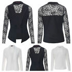 NEW WOMENS LADIES LONG SLEEVE FLORAL LACE OPEN WATERFALL BLAZER JACKET TOP 8-14