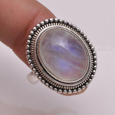 925 Solid Sterling Silver Ring, Natural Rainbow Moonstone Gemstone Jewelry R1968