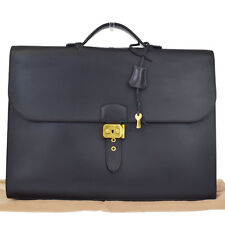 Authentic HERMES Logo Sac A Depeche Briefcase Bag Leather Black France 13Y853