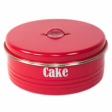 Typhoon Red Enamel Cake Storage Tin Container Carrier Caddy Biscuit Cupcake