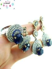 Handmade Turkish Jewelry Sapphire 925 Sterling Silver Ring 8 Set Earrings S1666