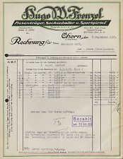 OHORN Sa., Rechnung 1937, Hosenträger, Sockenhalter u Sportgürtel Hugo W Frenzel