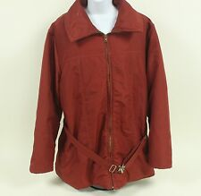 Eddie Bauer GOOSE DOWN Parka Coat Large L Dark Red Jacket Men's Puffer Fill belt