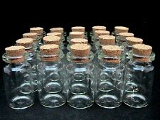 5 x Miniature Glass Bottles / Vials & Cork Stopper Decorative Storage Pendant