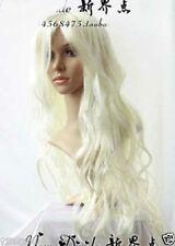 Charming long Kanekalon Hair Wig Wavy Platinum Blonde wig +earrings