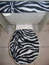 Black & White Zebra Fleece Fabric - Toilet Seat Lid & Tank Cover Set