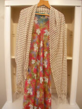 # Large White & Brown Polka Dot Cotton Scarf/Shawl With Hand Knotted Fringe.
