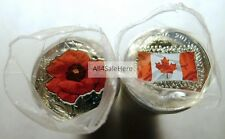 2015 Canada Flag + Remembrance Day Poppy Mixed Color 25-Cent Quarter Coin Rolls